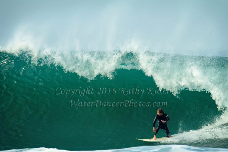 Making the section at Swamis Surf Break, CA